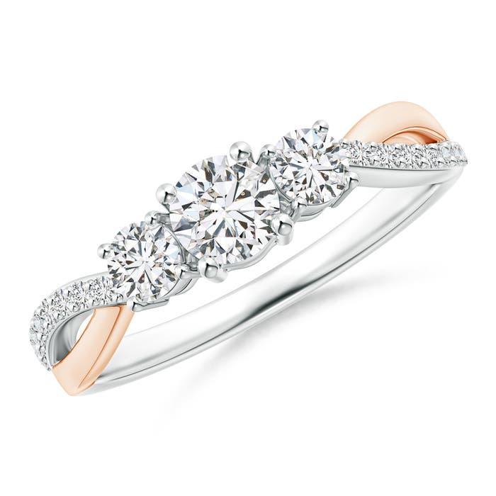 Angara Three Stone Diamond Twisted Vine Ring 7xZ12O0