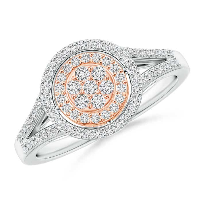 Angara Double Halo Diamond Cathedral Ring in Two Tone Gold iwX7ADy8Wd