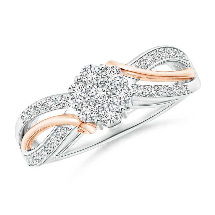 Angara Cluster Diamond Double Halo Split Shank Ring in Two Tone 4MbyeKSXd