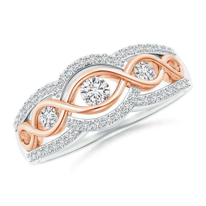 Angara Slanted Five Stone Diamond Bypass Ring in Two Tone 42pUMMgbeO