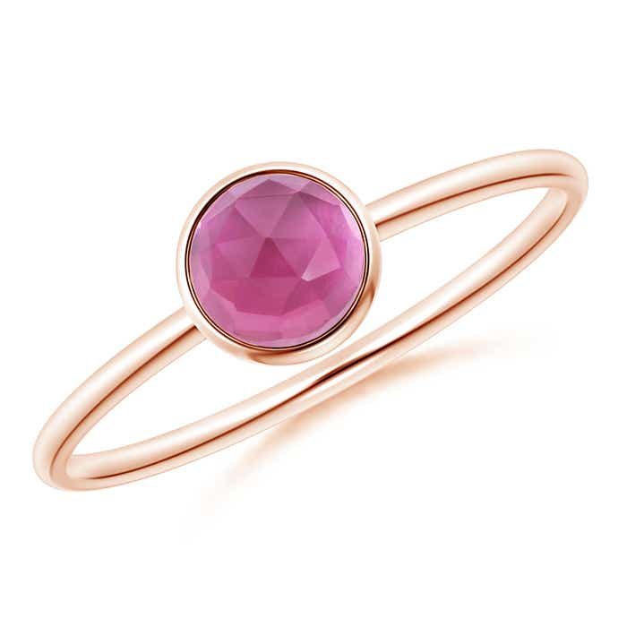 Angara Bezel-Set Pink Tourmaline Stackable Ring with Beaded Shank 6GzeWiav