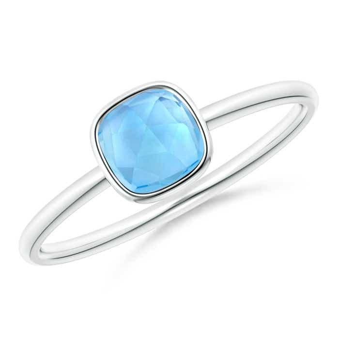 Angara Cushion Swiss Blue Topaz and Diamond Ring in Yellow Gold Cw01TwB
