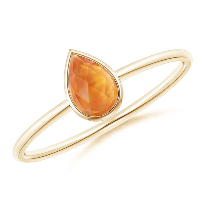 Angara Bezel-Set Solitaire Pear Shaped Citrine Ring 8Zi5Hs1