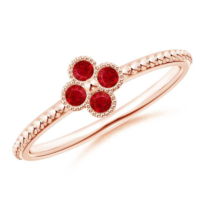 Angara Classic Ruby and Diamond Six Petal Flower Ring in 14k Yellow Gold M1aT6xOLn