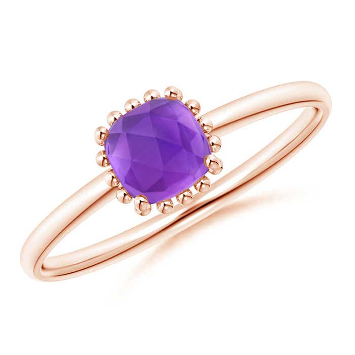 Angara Cushion Amethyst Beaded Halo Ring with Diamond Accents VsO5qkDou