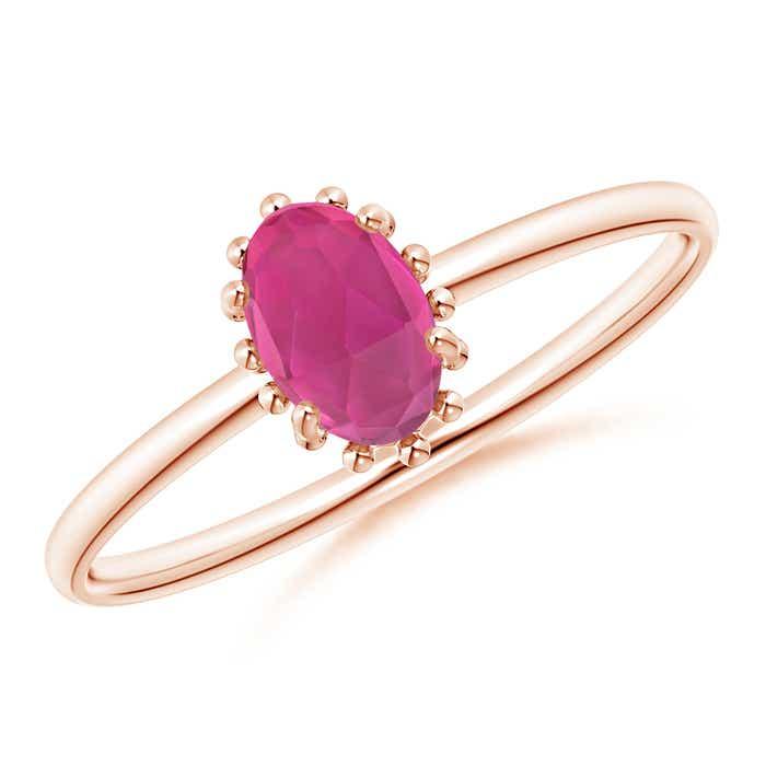 Angara Oval Cabochon Amethyst and Pink Tourmaline Halo Ring U7ItAG1r0J