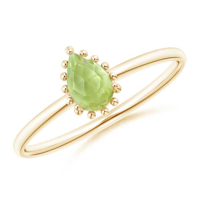 Angara Pear Shaped Peridot Double Halo Ring in White Gold vD82A0x