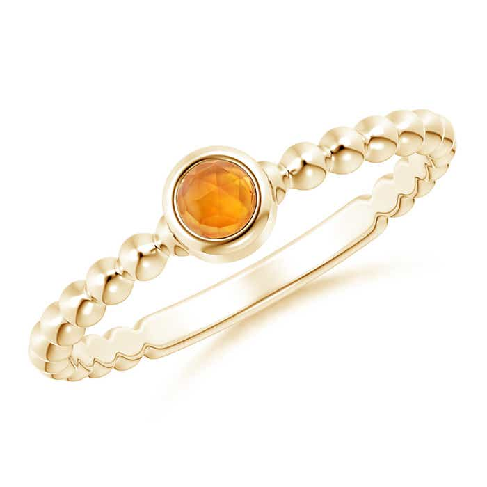 Angara Bezel-Set Round Citrine Ring with Beaded Shank 8KZL8p