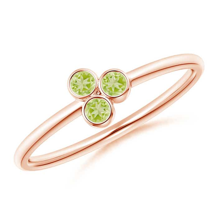 Angara Classic Peridot Triple Cluster Ring in Yellow Gold U8D9m