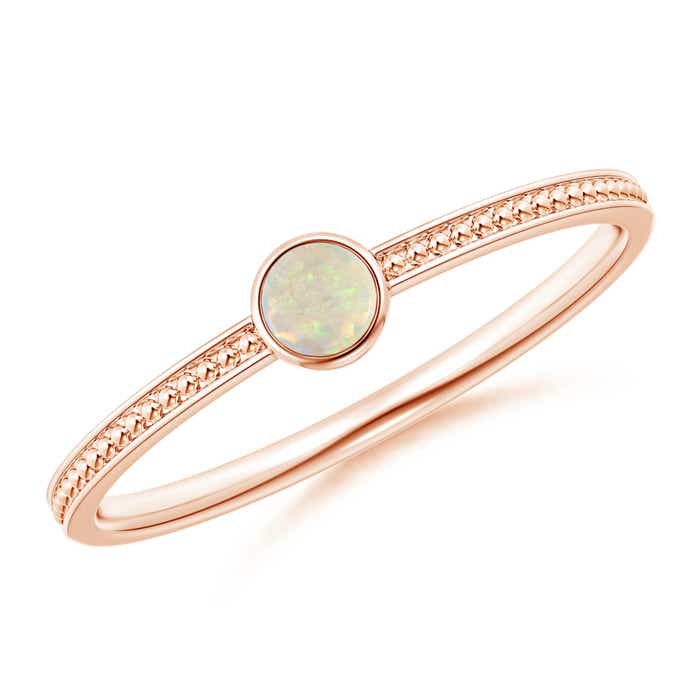 Angara Solitaire Round Opal Compass Ring with Diamond 4NSaKy