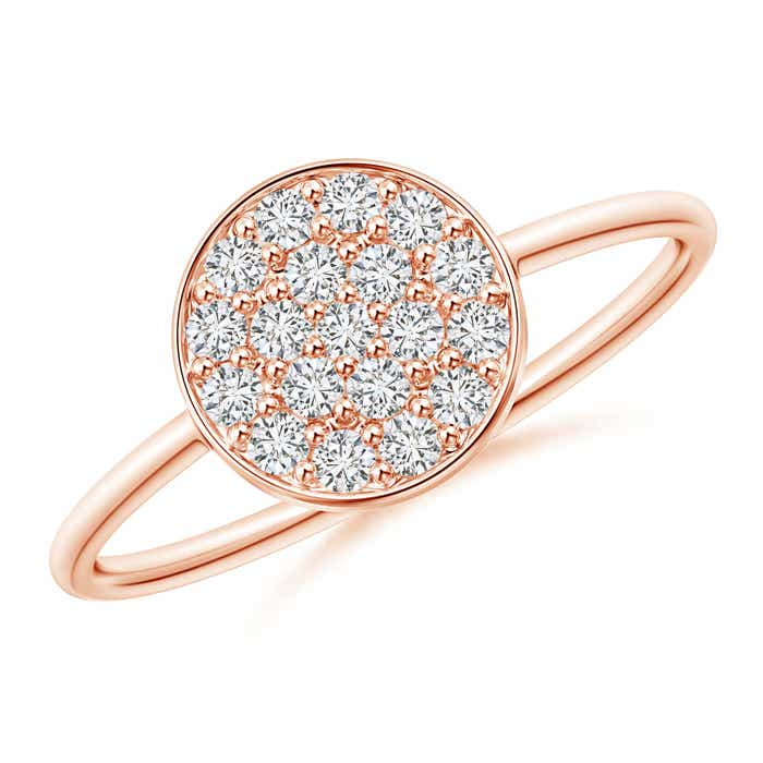 Angara Rose Gold Round Diamond Cluster Ring