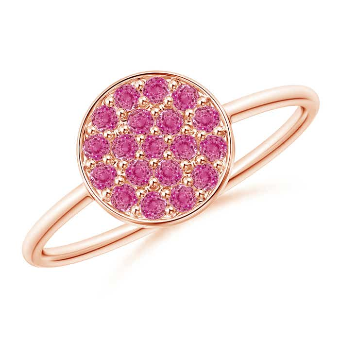 Angara Pave Set Pink Sapphire Hexagon Solitaire Ring with Milgrain