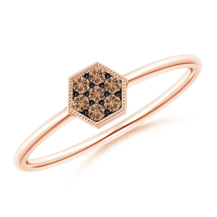 Angara Brown Diamond Cluster Halo Ring in Rose Gold FntiSZ