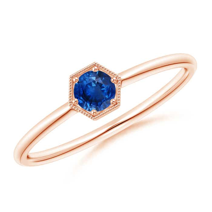 Angara Bezel Framed Blue Sapphire and Diamond Promise Ring in Rose Gold xDJlScHe3x