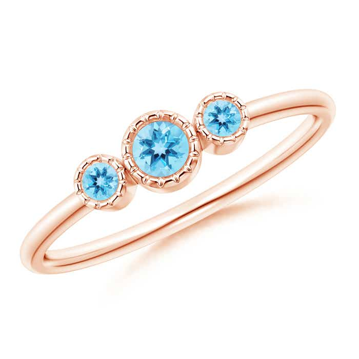 Angara Prong Set Swiss Blue Topaz Three Stone Ring in Yellow Gold adGMpN
