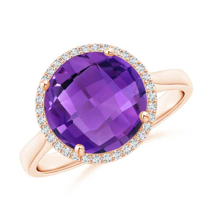 Angara Round Amethyst Halo Regal Ring with Diamond Accents YmoMnsZ