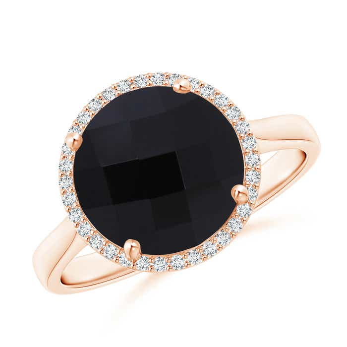 Angara Round Black Onyx Ring in White Gold zfV7KJTk