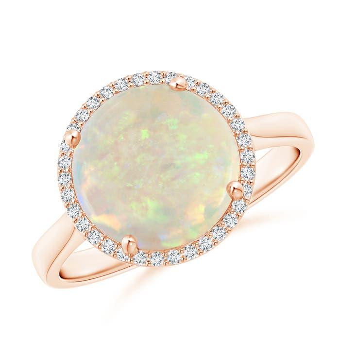 Angara Floating Diamond Halo Cabochon Opal Split Shank Ring in Yellow Gold Fglmtg