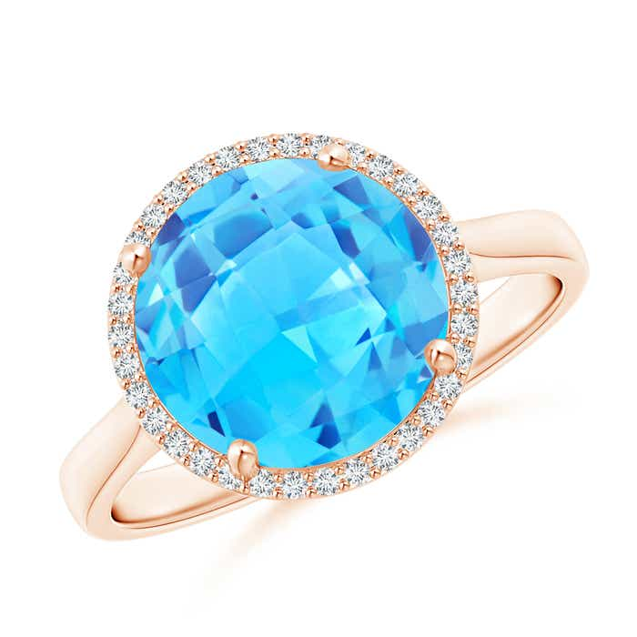 Angara Swiss Blue Topaz Cocktail Ring in Rose Gold 7xLUYHFAcE