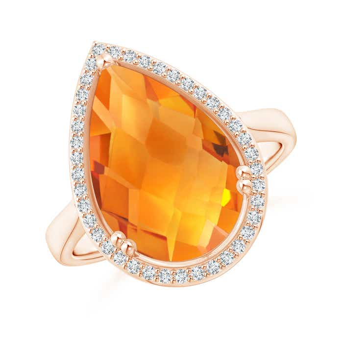 Angara Pear Shaped Citrine Ring with Diamond Halo Kl9by7yOz