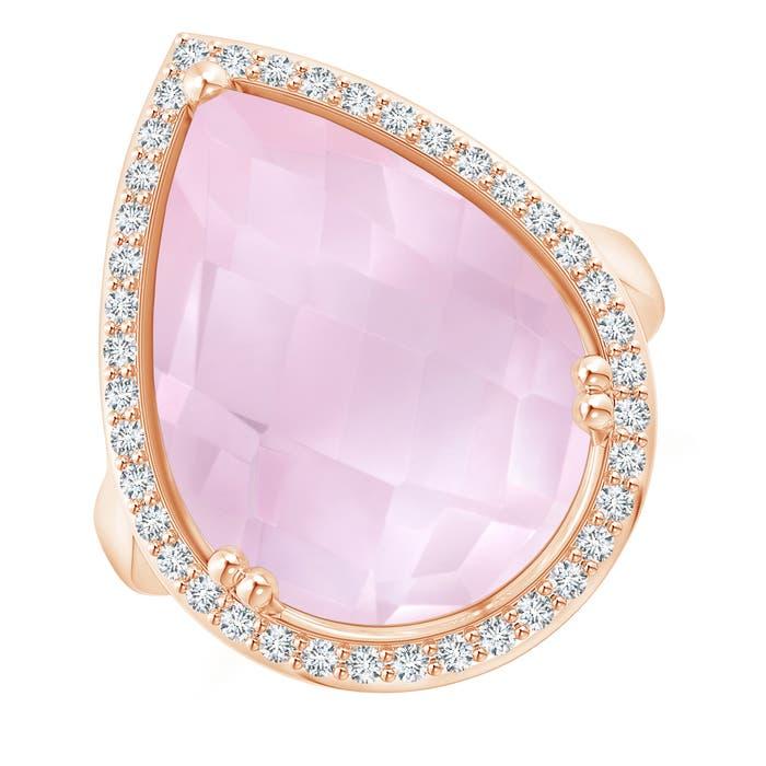 Angara Cushion Rose Quartz Halo Ring with Clover Motif pweEHy66