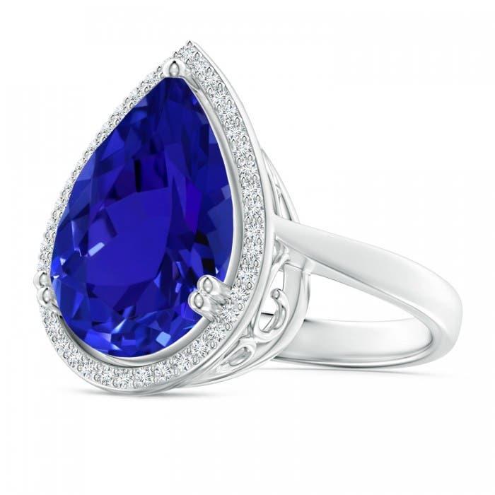 Angara Pear-Shaped Amethyst Cocktail Ring with Diamond Halo RFF5tJMclS