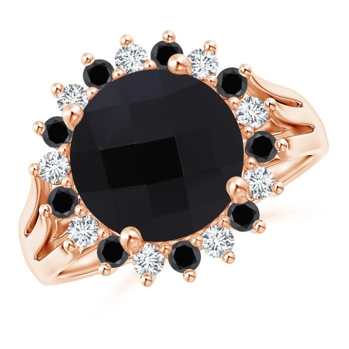 Angara Round Black Onyx Split Shank Ring with Diamond Halo DqD0sc