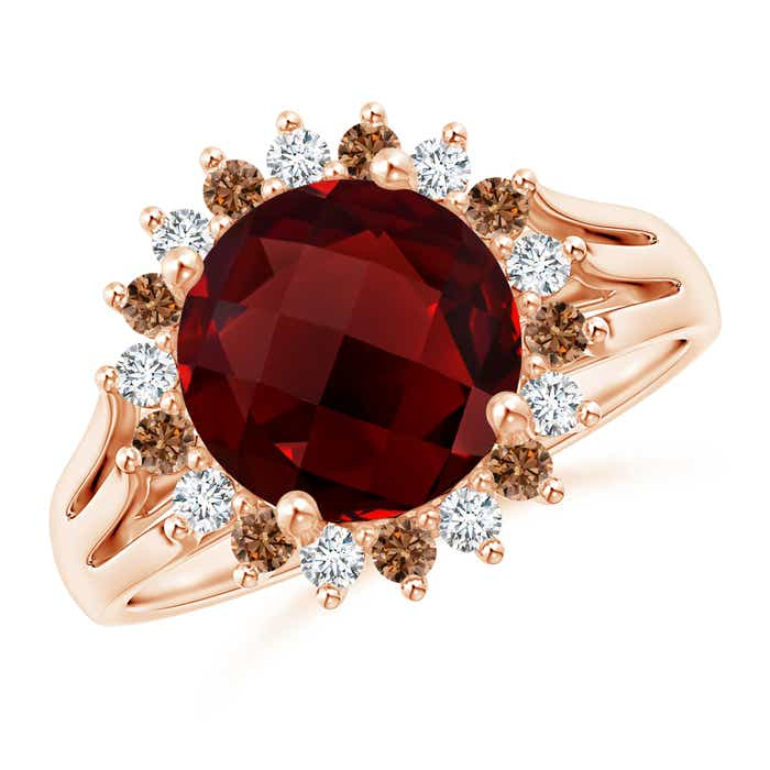 Angara Vintage Style Garnet Cocktail Ring with Diamond Halo oPozju2jr