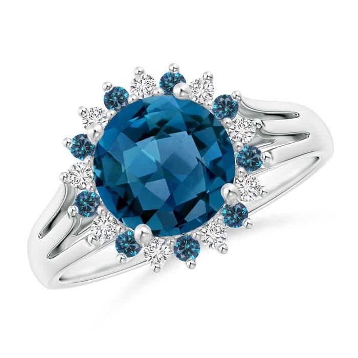 Angara London Blue Topaz Triple Shank Ring with Alternating Halo qepW65v