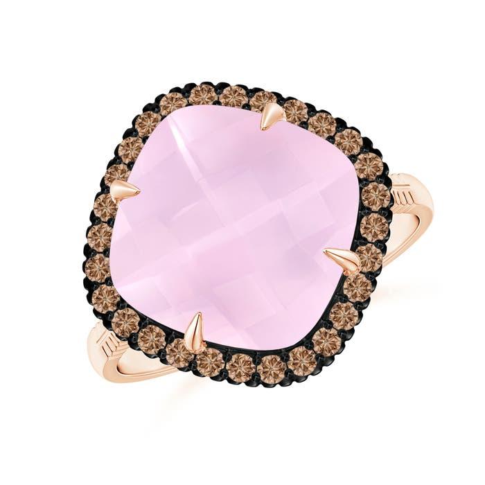 Angara Cushion Rose Quartz Halo Ring with Clover Motif vn62qrP7cZ