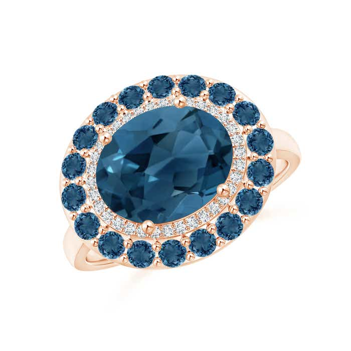 Angara Sideways Oval London Blue Topaz Double Halo Cocktail Ring
