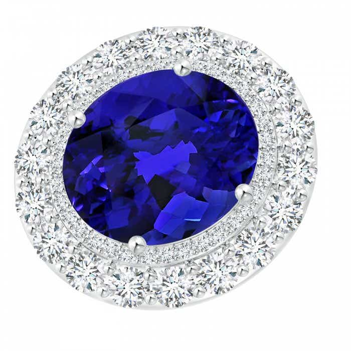 Angara Tanzanite Ring - GIA Certified Oval Tanzanite Cocktail Ring with Diamond Halo