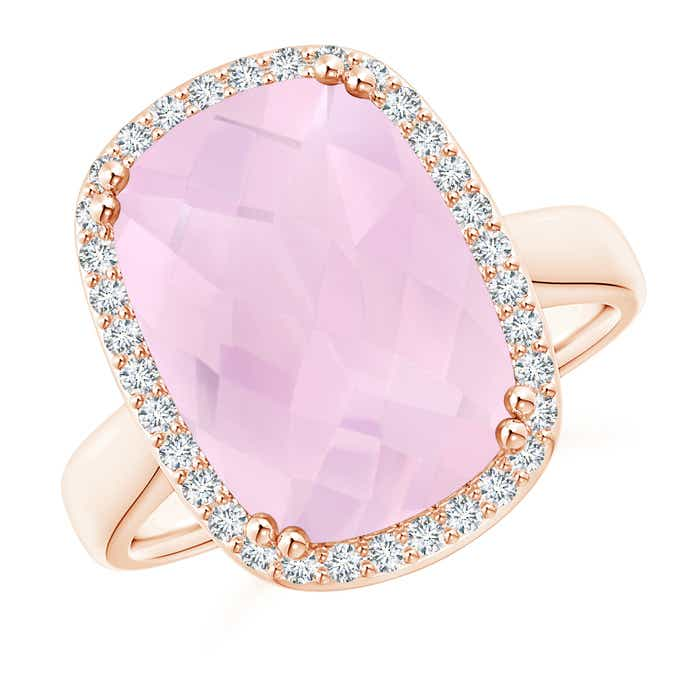 Angara Sugarloaf Cabochon Rose Quartz Ring with Diamond Halo 2dD2t