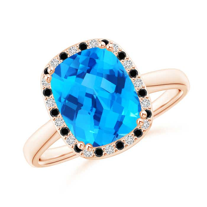 Angara Double Prong-Set Cushion Swiss Blue Topaz Cocktail Ring in Yellow Gold