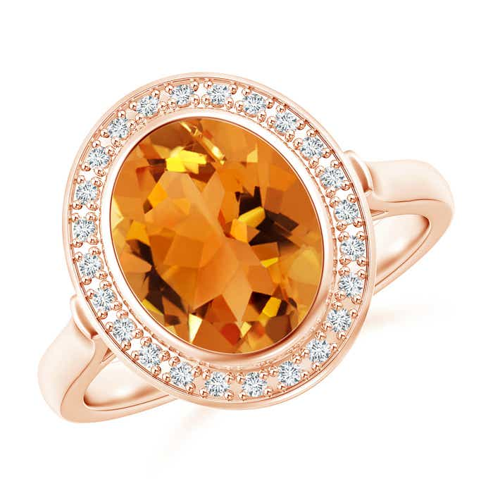 Angara Bezel-Set Oval Citrine Ring with Diamond Halo TEs00