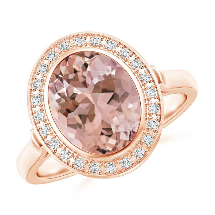 Angara Bezel-Set Oval Morganite Ring with Diamond Halo