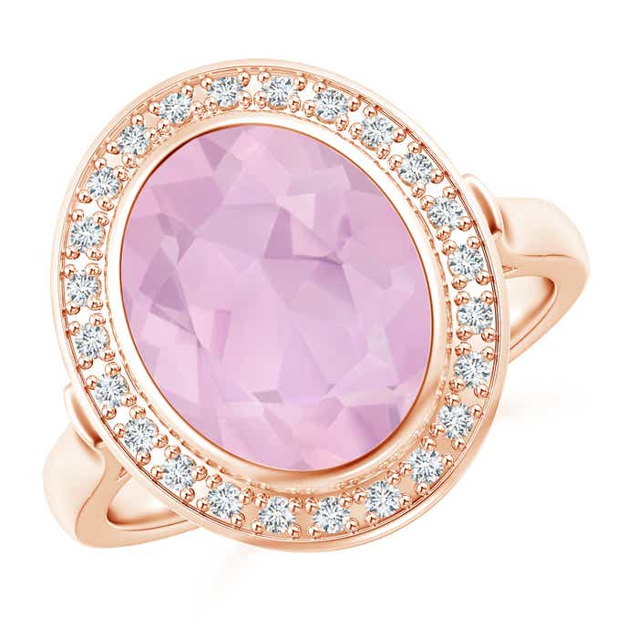 Angara Sideways Oval Rose Quartz Double Halo Cocktail Ring