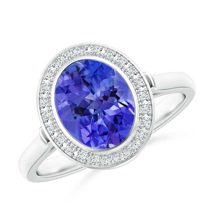 Angara Diamond Halo Oval Tanzanite Three Stone Engagement Ring in Platinum h8AkJzGU
