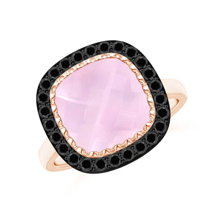 Angara Cushion Rose Quartz Cocktail Ring with Black Diamond Halo CJ3Bz