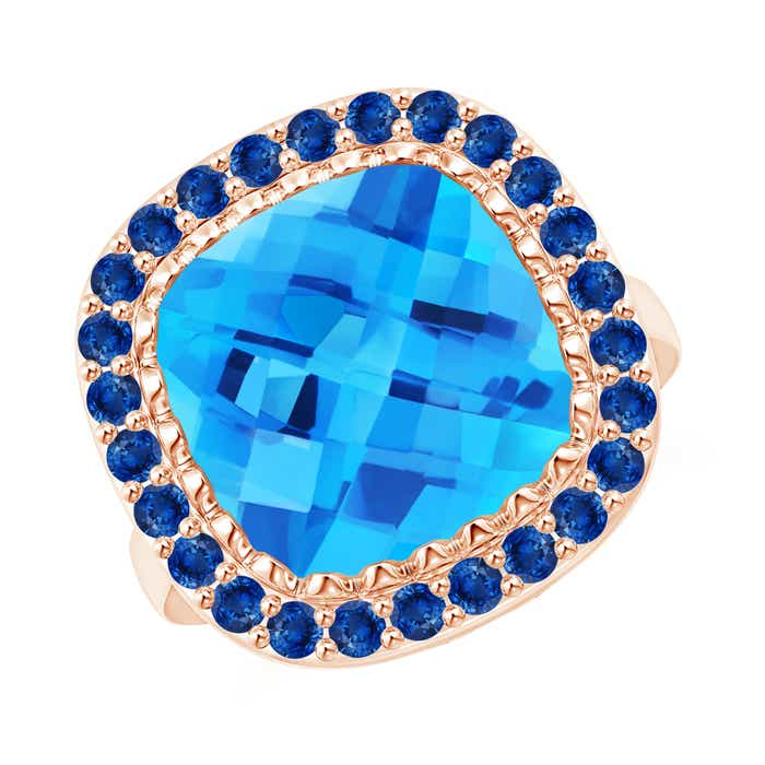 Angara Sugarloaf Cabochon Swiss Blue Topaz Ring with Diamond Halo 33MUU