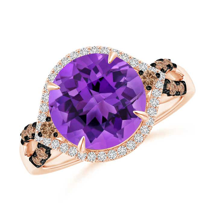 Angara Amethyst Cocktail Ring with Diamond Halo id3wFE