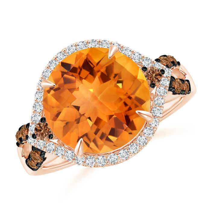 Angara Citrine Ring - Vintage Style Citrine Cocktail Ring with Diamond Halo h9ZPYo8