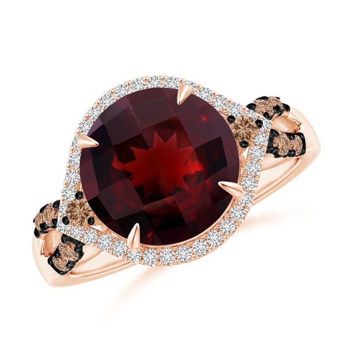 Angara Round Garnet Cocktail Ring with Diamond Halo XmIN6EUf