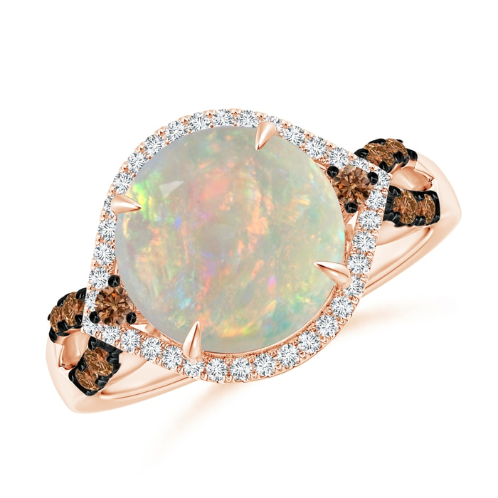 Angara Round Opal Triple Split Shank Ring with Alternating Halo xQgmJW8