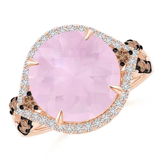 Angara Round Rose Quartz Cocktail Ring with Coffee Diamond Accents 3CkHicldD