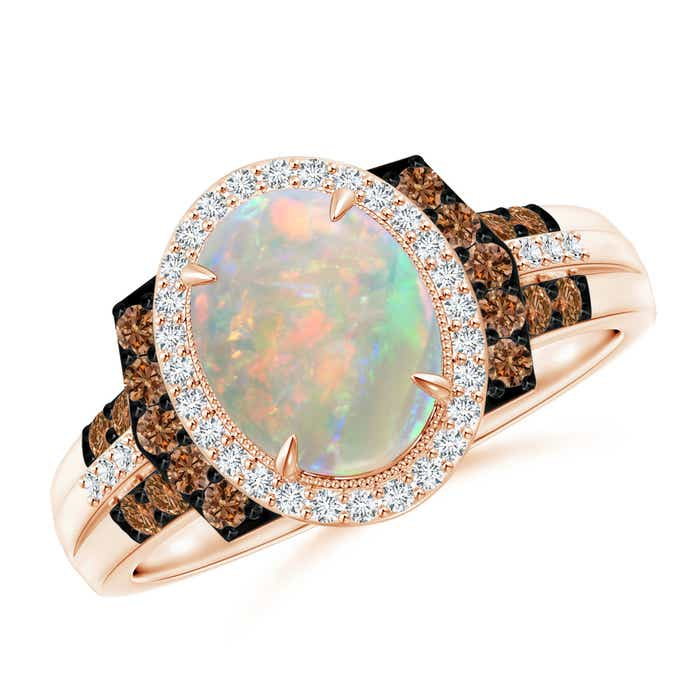 Angara Vintage Style Opal Engagement Ring in Rose Gold