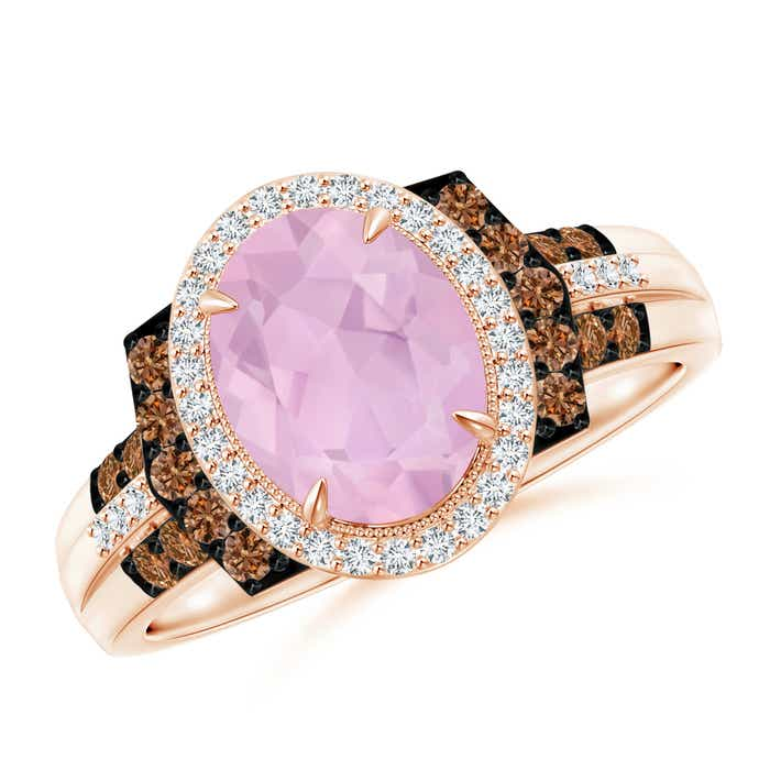 Angara Round Rose Quartz Cocktail Ring with Coffee Diamond Accents vEmiX391