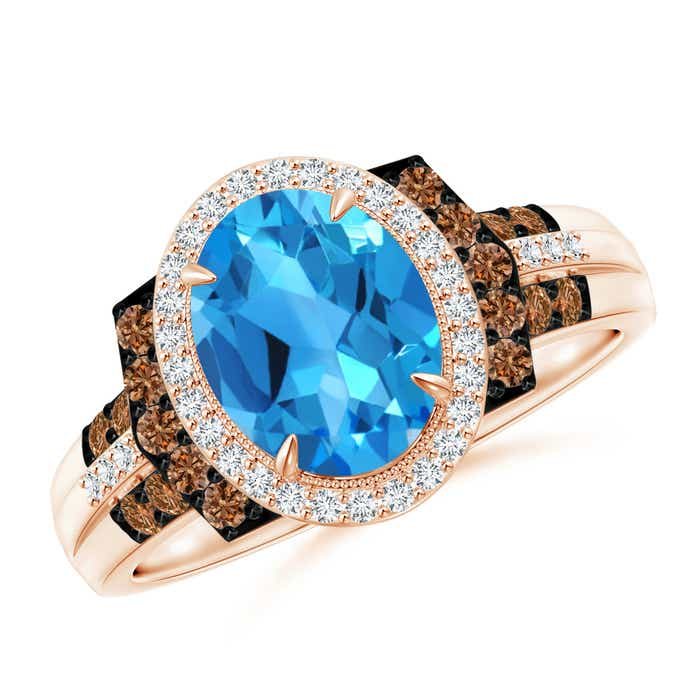Angara Vintage Oval Swiss Blue Topaz Bezel Solitaire Ring with Diamonds JX3dp