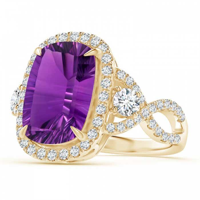 Angara Amethyst Ring - GIA Certified Cushion Amethyst Crossover Ring with Halo q8WDnDIs