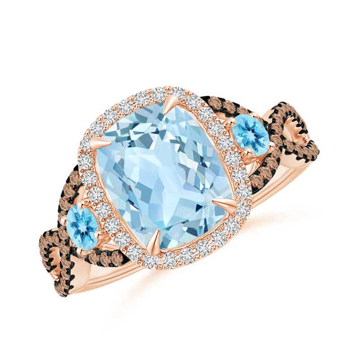 Angara Aquamarine and Swiss Blue Topaz Ring Crossover with Halo